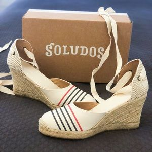Soludos Espadrille, red and blue stripes